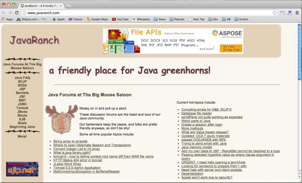 Best websites for Java developers - javaranch