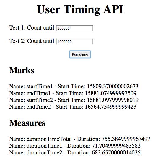 Best HTML5 apis  - user-time-api