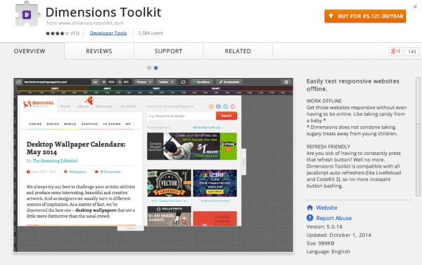 best chrome extensions for developers and designers 2014  - dimensions