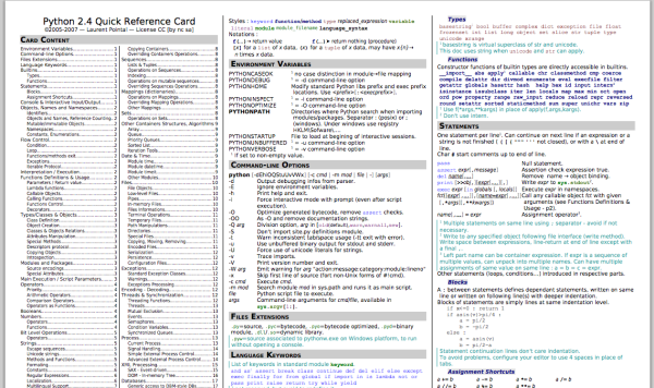 best cheat sheet for designers and developers - python