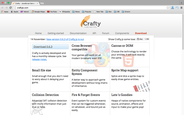 best HTML5 and javascript game engine libraries  - crafty