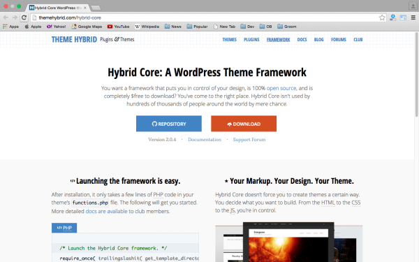 best free WordPress Theme Frameworks for 2015 - hybrid-core
