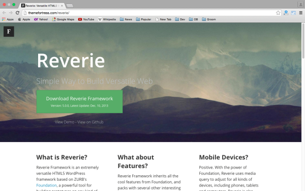 best free WordPress Theme Frameworks for 2015 - reverie