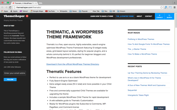 best free WordPress Theme Frameworks for 2015 thematic