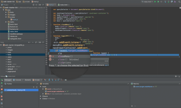 best free IDEs and Editors for programmers and designers - webstrom.