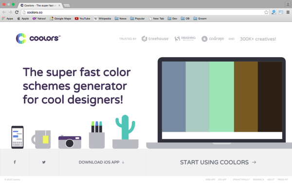 fresh best tools for year 2015 for web developers - coolors