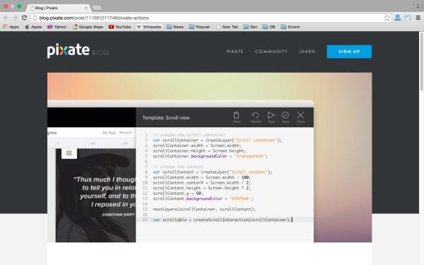 best fresh web development tools for march 2015 - pixate-action