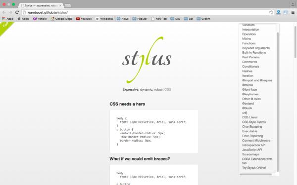 http://learnboost.github.io/stylus/ - stylus