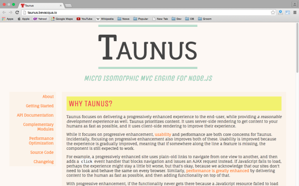 best node.js tools for year 2015 - taunus