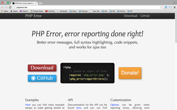 phperror - best PHP libraries for developers