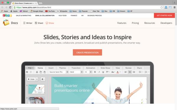 zoho - top best free presentation tools