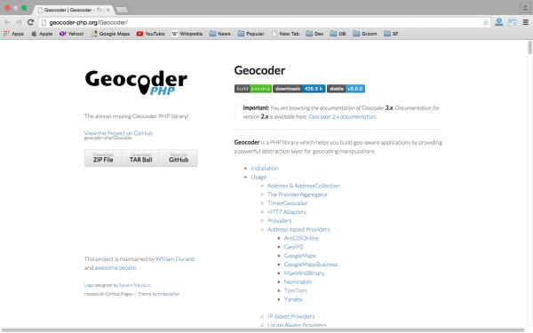 geocoder - Best PHP development tools 2015
