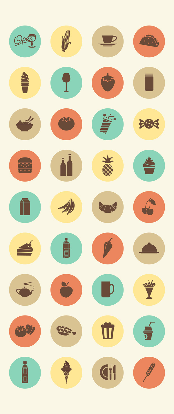 retro-food-and-drink-icon-set